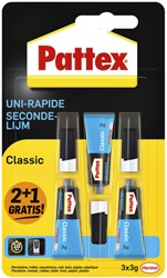 Secondelijm Pattex classic 3gr 2+1 gratis
