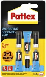 Secondelijm Pattex super gel 3gr 2+1 gratis