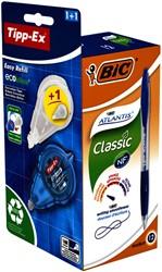Balpen BIC Atlantis 0.32mm blauw + gratis Tipp-Ex easy doos à 12