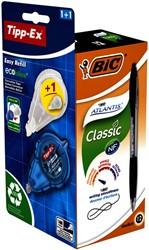 Balpen BIC Atlantis 0.32mm zwart + gratis Tipp-Ex easy doos à 12