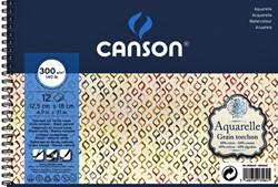 Aquarelblok Canson 12.5x18cm 12V 300gr grof spiraal