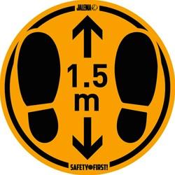 Vloersticker houd afstand geel/zwart Ø350mm voor gladde vloeren