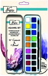 Aquarelverf Nassau Art blik à 18 napjes en penseel