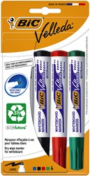 Viltstift Bic 1704 whiteboard rond assorti 1.4mm blister à 4 stuks