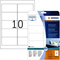 Etiket Herma 4349 A4 96x50.8mm verwijderbaar wit