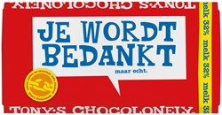 "Chocolade Tony's Chocolonely reep 180gr melk ""Bedankt"""
