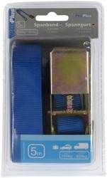 Spanband ProPlus blauw met ratel en 2 haken 5m