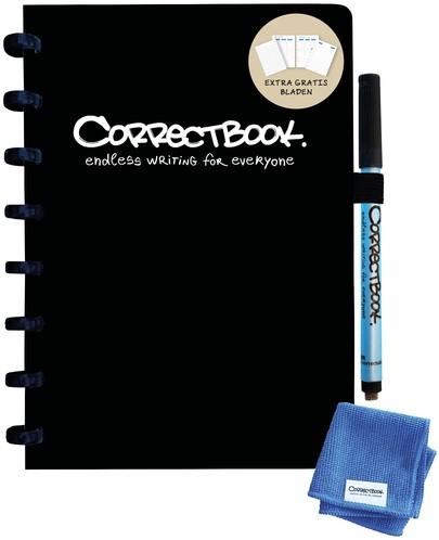 Notitieboek Correctbook uitwisbaar en herbruikbaar A5  lijn zwart 40blz + 4 extra pagina's