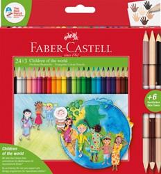 Kleurpotloden Faber Castell driekant set à 24+3 stuks assorti