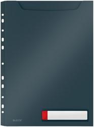 Insteekmap U-model Leitz Cosy harmonica A4 met perforatiestrip PP grijs