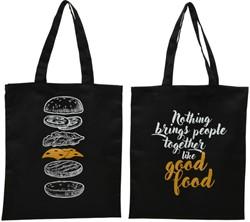Polyester tas met handvaten zwart met assorti print