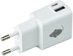 Oplader Green Mouse USB-C 1x en USB-A 1x 2.4A wit
