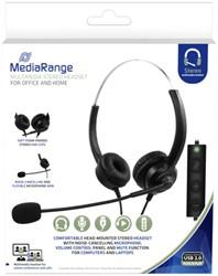 Headset MediaRange HP-115 H300D stereo zwart
