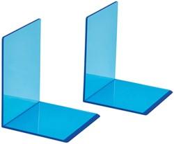 Boekensteun MAUL 10x10x13cm acryl neon blauw