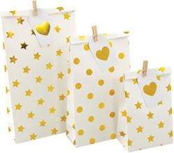 Cadeautas wit met gouden stippen 3 maten assorti