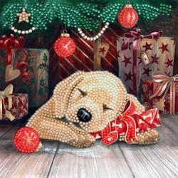 Diamondpainting Crystal Art Kaart Puppy's First Christmas 18x18cm