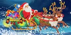 Diamondpainting Crystal Art Kaart Santa's Sleigh 11x22cm