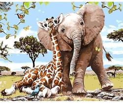 Schilder op nummers olifant & giraf