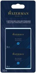 Inktpatroon Waterman internationaal Florida blauw blister 4x8 stuks