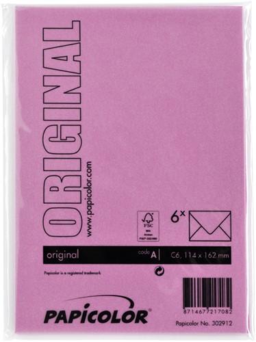 Envelop Papicolor C6 114x162mm felroze-3