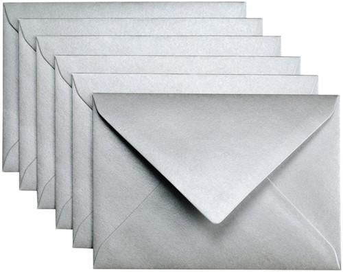 Envelop Papicolor C6 114x162mm metallic zilver