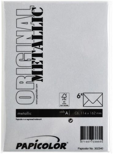 Envelop Papicolor C6 114x162mm metallic zilver-3