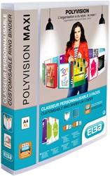 Presentatieringband Elba Polyvision Maxi A4 XL 4-rings D-mech 25mm transparant