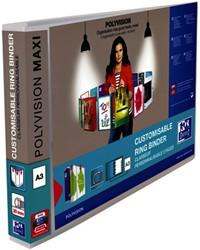 Presentatieringband Elba Polyvision Maxi A3 dwars 4-rings D-mech 30mm transparant