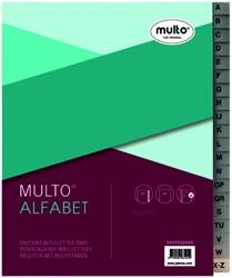 Tabbladen Multo A5 17-gaats alfabet PP grijs