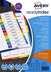 Tabbladen Avery Readyindex 9-gaats 5-delig 1-5 assorti