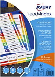 Tabbladen Avery Readyindex 9-gaats 12-delig 1-12 extra breed assorti
