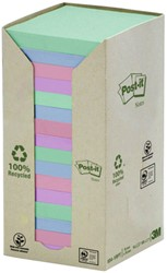 Memoblok 3M Post-it 654-1RPT 76x76mm 16 stuks recycled rainbow pastel