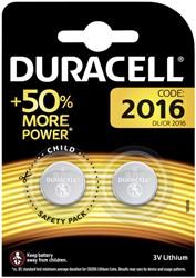 Batterij Duracell knoopcel CR2016 lithium Ø20mm 3V-90mAh