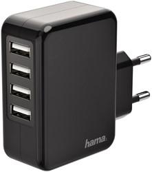 Oplader Hama USB met 4 poorten 4.8A zwart