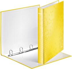 Ringband Leitz WOW A4 4-rings D-mech 25mm karton geel