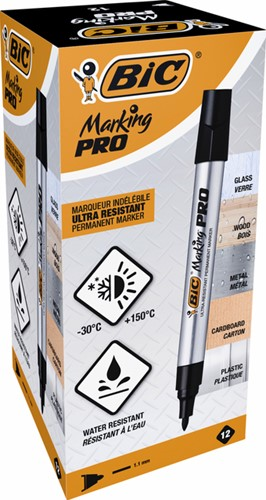 Viltstift Bic Pro 1mm permanent zwart-2