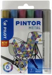 Verfstift Pilot Pintor metallic 1.0mm ass etui à 6 stuks assorti