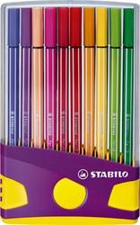 Viltstift STABILO Pen 68 ColorParade antraciet/roze etui à 20 kleuren