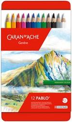 Kleurpotloden Caran d'Ache Pablo assorti blik à 12stuks