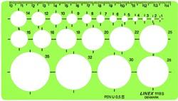 Sjabloon Linex 1118S 22 cirkels 1-35mm met inktvoetjes
