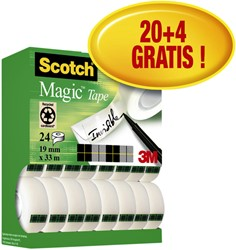 Plakband Scotch Magic 810 19mmx33m onzichtbaar mat 20+4 gratis