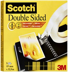 Dubbelzijdige plakband Scotch 666 met schutlaag 19mmx33m