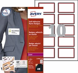 Naambadge etiket Avery L4786-20 80x50mm rood kader 200stuks