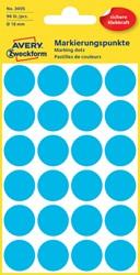 Etiket Avery Zweckform 3005 rond 18mm blauw 96stuks
