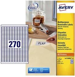 Etiket Avery L4730REV-25 17.8x10mm afneembaar wit 6750stuks