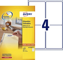 Etiket Avery L4733REV-25 99.1x139mm afneembaar wit 100stuks