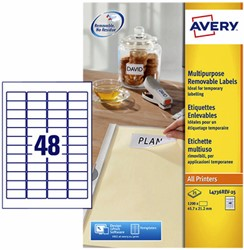 Etiket Avery L4736REV-25 45.7x21.2mm afneembaar wit 1200stuk