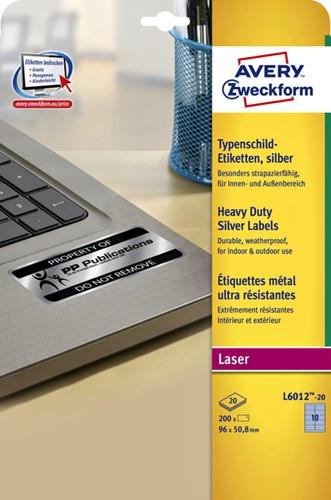 Etiket Avery Zweckform L6012-20 96x50.8mm zilver 200stuks-2