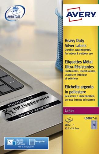 Etiket Avery L6009-20 45.7x21.2mm zilver 960stuks-2