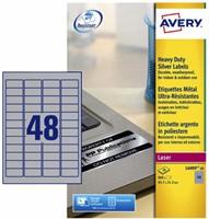 Etiket Avery L6009-20 45.7x21.2mm zilver 960stuks